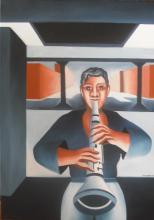 Clarinetiste. Huile sur toile. 50X70 - ARTEC
