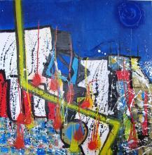 les couleurs du bonheur acrylique - encre et collage sur toile 2019 - ARTEC